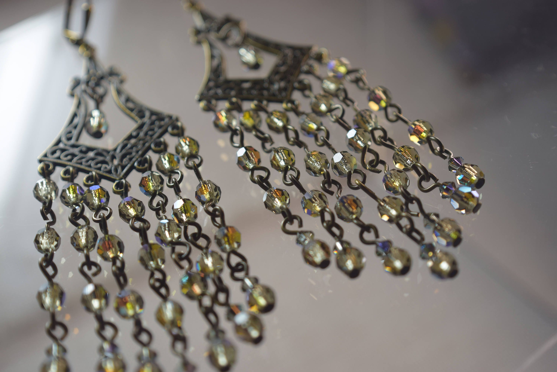 Black diamond ab crystal ball antique bronze chandelier earring black diamond ab crystal ball antique bronze chandelier earring czech preciosa bead large arubaitofo Images