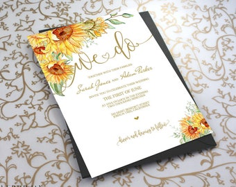 Wedding Floral Invitation Template - We Do Sunflower Wedding Invite 3 Piece-DIY Printable Invitations-PDF-Download Instantly | VRD151AWY