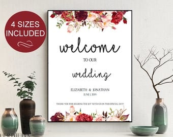 Wedding Welcome Sign Template Wedding Reception Greet Guests Burgundy Printable Welcome to Our Wedding Poster Board DIY Template| VRD137LWV