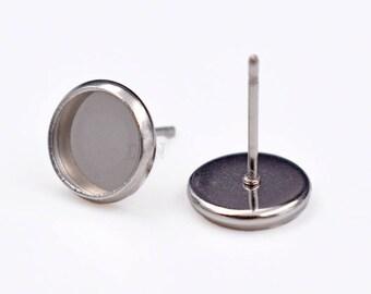 50 Stainless Steel Earring Tray-Earring Posts-Bezel Earring Blanks-Cabochon Earrings Setting--Surgical Steel Earring Studs-Ear Nuts included