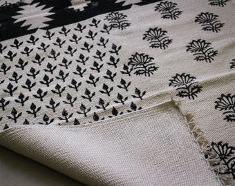 Handcrafted Runner, Cotton, Block-Printed, Black and White, Cotton Rug-Dhurrie, Handwoven, Traditional Rajasthan, Victorian, Free Shipping