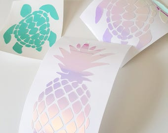 Nautical Decals, Vinyl Decals, Pineapple Decals, Sea turtle Decals, Holographic Vinyl, Bridesmaid Gifts, Wedding Party Decals, Nautical