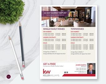 "InDesign Real Estate Market Update Flyer Template, Real Estate Flyer Template, InDesign Template, Market Report Flyer, 8.5"" x 11"", No.23"