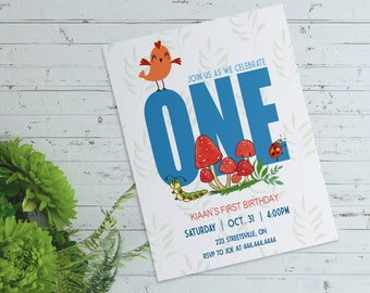 Jungle Theme 1st Birthday Invitation -  Digital File (PDF or JPEG)