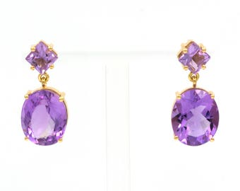Earings - Yellow Gold 18k/750 -Natural purple amethysts of 10.20 ct.