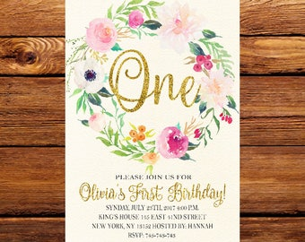 Pink Gold Floral First Birthday Invitation,Boho Birthday Invitation,Girl 1st Birthday,One Birthday Invitation,flower first birthday 209