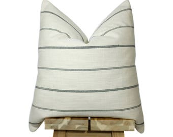 Modern Farmhouse Collection | Striped Pillow Cover | Cream and Black