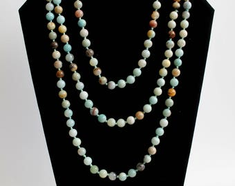 Long Amazonite Beaded Necklace 30 inch