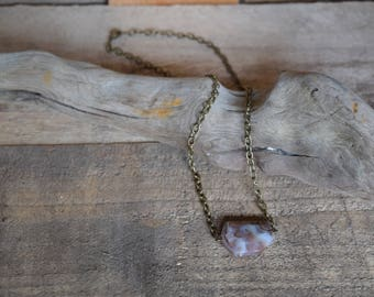 Around the world. Botswana agate necklace. Antiqued brass. Nickel free.