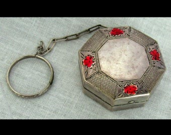 Vintage Nickel Silver Finger Ring Rouge Compact