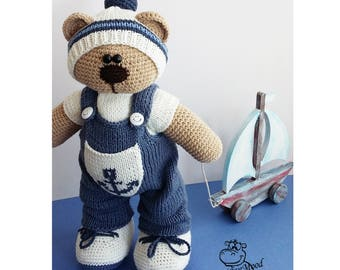 Knitted toy Bear Jung/ crochet toy / knitted animal  / soft toy