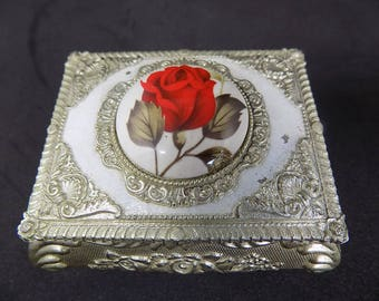 Silver Plated Jewelry Trinket Box | Jewellery Box | Vintage trinket box | roses |