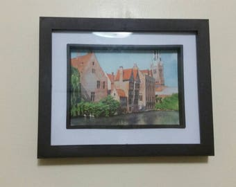 "5""x7"" Painting Medieval Building"