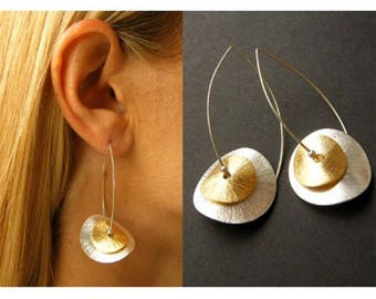 Earrings, Silver plated plate, Silver and gold, Ohrringe, Silver 925 modern, young fashion, NEW,