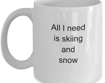 Ski Themed Coffee Mug for Ski Lovers Skiing Coffee Mug