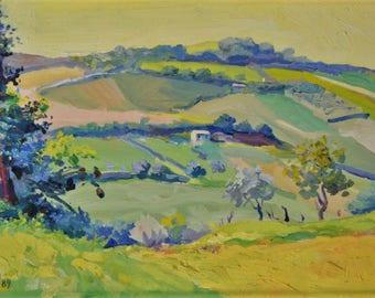 Landscape Yellow Hills Marche-Oil on canvas