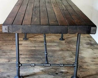 Rustic Wood Butcher Block Top Table, Dining Table with Steel Pipe Base, Industrial Steampunk Furniture