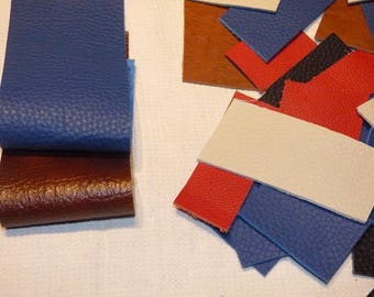 SET OF 2 SMALL LEATHER COUPONS + 6 DIFFERENT COLORS LEATHER SCRAPS.