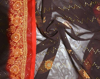 COLOR PRINTED POLYESTER CHIFFON RED AND BROWN