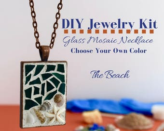 Make your own jewelry making kit necklace diy kit do it jewelry making kit mosaic glass necklace activity rectangle copper pendant choose your own solutioingenieria Gallery