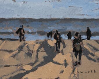 "Windy beach // art original oil painting // 7x5"" oil on canvas board unframed // by Elliot Roworth"