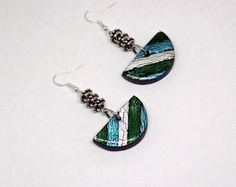 Blue earrings, Bohemian jewelry, dange earrings, Polymer clay, Gift for her, Personalized jewelry, Long earrings, jewelry set, Silver
