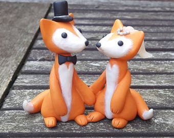 Fox wedding couple, Bride and groom, golden orange and pearl white polymer clay.
