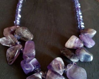 Amethyst Choker necklace genuine stone and Crystal purple creation litho original charm original
