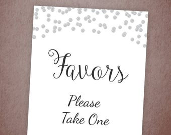 Favors Please Take One Sign Printable, Silver Confetti Thank You Sign, Bridal Shower Sign, Silver Wedding Favor Sign, Party Decorations A003