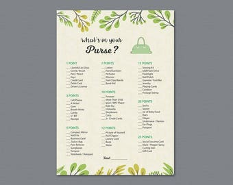 Green Whats in your Purse Game Printable, Bridal Shower, Leaves, Bachelorette Party, Wedding Shower Games, Purse Raid, Purse Hunt, A011