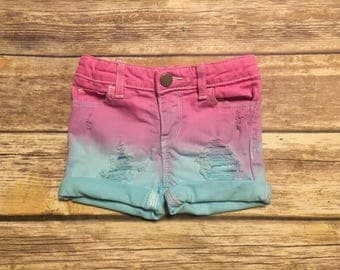 Cotton candy distressed shorts