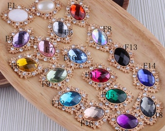 Sparkle Bling Horse Eye Decorative Flatback Crystal Buttons for Hair Accessories Metal Rhinestone Buttons for Craft