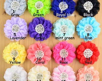 9cm Chiffon Petals Poppy Flower For Baby Headbands Shabby Fabric Lace Flowers+Pearl/rhinestone gem For Baby Girl Hair Clips Accessories