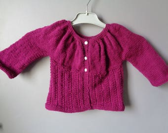 BABY GIRL FUSCHIA HAND KNITTED CARDIGAN