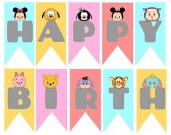 Happy Birthday  Mini Tsum Tsum Banner