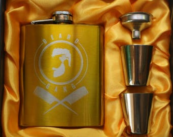 Beard Gang // Engraved Flask //His Gift  // Funny Flask // Party Favors // Hip Flask for Men // 21st Birthday Gift // 7 oz