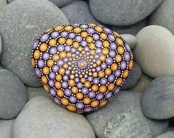 Painted Rock - Mandala Stone - Mandala Art - Hand-painted Meditation Mandala Rock - Purple & Orange - Dotillism - Chakra - Painted Stone