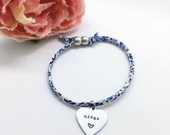 Personalised childrens 'Niece' Liberty bracelet   Gifts for Niece   Gifts for girls   Personalised gifts   Childs bracelet  