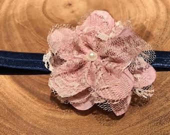 Pink flower headband, pink lace flower headband, pink and blue headband, pink and navy blue headband, navy blue headband, blue headband