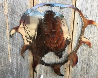 Buffalo Bear Tooth Necklace Metal Art