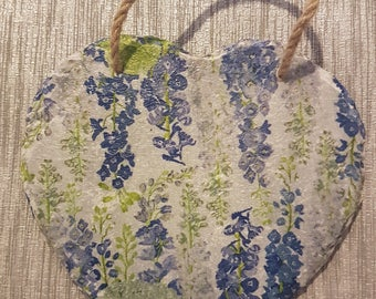 Vintage Shabby Chic - Large Real Slate Decoupage heart shaped - Delphiniums and Billie Goes to Town Collections