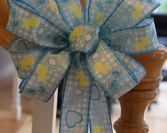 Baby Boy Bow, Baby Shower Bow, Gender Reveal Bow, Blue Baby Bow, Welcome Home Baby Bow, Baby Gift Bow, Teddy Bear Bow, Duck Bow