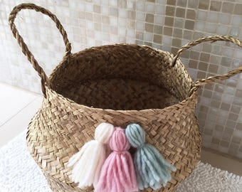 Small wicker basket nature with tassels