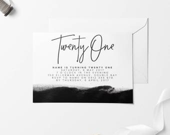 Black Printable Birthday Invitation, Custom Printable Invitation, 30th Birthday, 21st Birthday, 18th Birthday, DIY Birthday Invitation