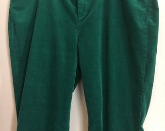 Women forest green corduroy pants
