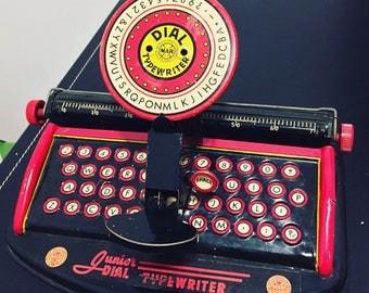 Vintage Antique Junior Dial Typewriter - Children's Toy - Working