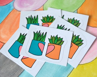 Split Heart Succulents Sticker