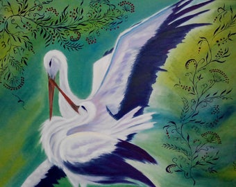 Storks- 60*80 cm READY TO HANG gift idea