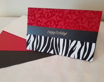 Red Zebra Birthday Card