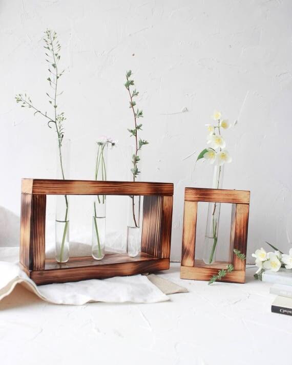 Test tube flower bud vase with decorative rustic wood stand for Test tube flower vase rack
